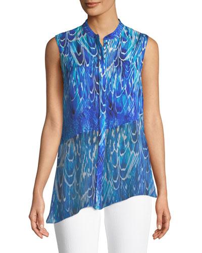 Shreeva Feather-Print Silk Blouse