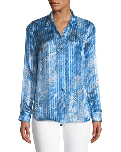 Martha Graphic-Striped Silk Blouse