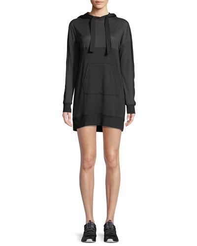 Range Long-Sleeve Hooded Mini Sweatshirt Dress