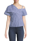 One-Shoulder Foldover Hartman Gingham Top