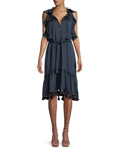 Pillar Flounce Midi Dress