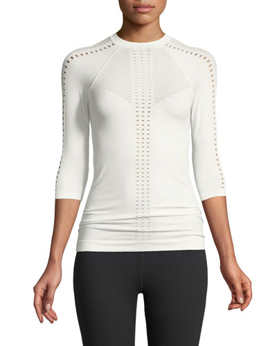 Oliver Crewneck 3/4 Sleeve Perforated Jersey Top