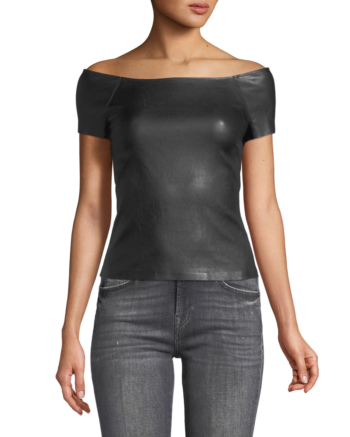 Off-the-Shoulder Fitted Bristol Leather Ballet Top