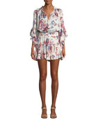 Cecile Split-Neck Floral-Printed Cap-Sleeve Dress