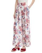 Sedona High-Waist Floral-Print Satin Pants