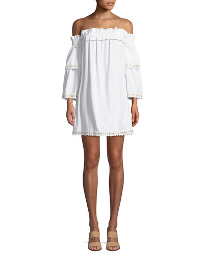 Valerie Off-the-Shoulder Mini Dress with Grommet Trim