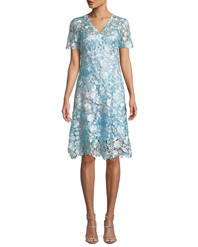 Samira Floral-Appliqué Shift Dress