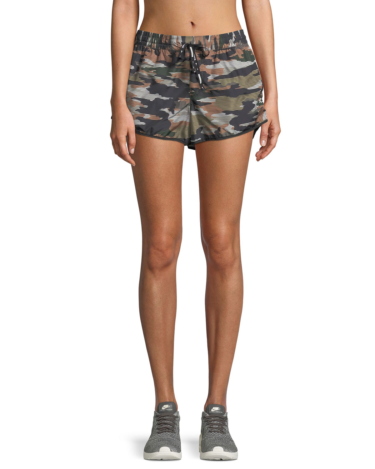 Striped Camo Running Shorts in Green Pattern