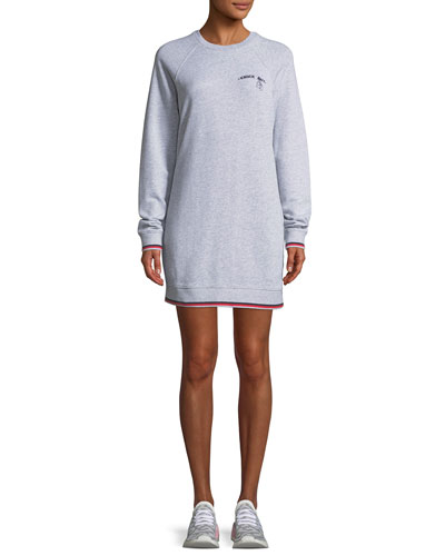 Knockout Crewneck Long-Sleeve Cotton Dress