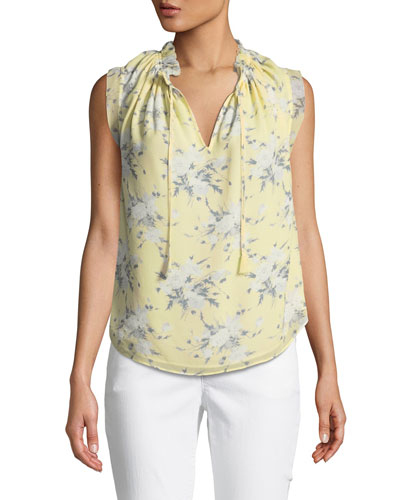 Sleeveless Lemon Rose-Print Silk Blouse