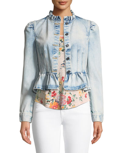 Light-Wash Peplum Denim Jacket