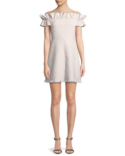 Off-the-Shoulder Slub Suiting Dress