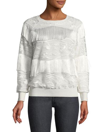 Roslyn Fringed-Trim Sweater