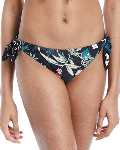 reversible floral-print polka-dot swim bottoms
