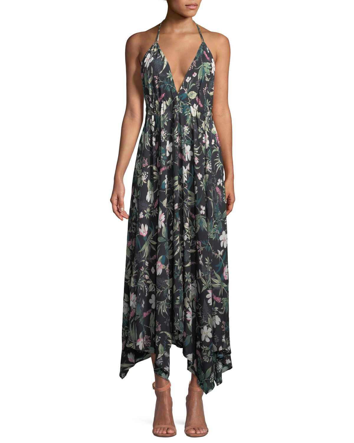 deep-v floral-print maxi coverup dress