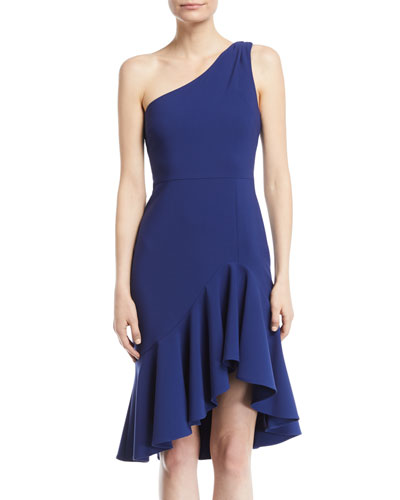 Rollins One-Shoulder Flounce-Hem Ponte Dress