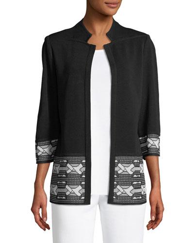 Notch-Lapel Jacket with Knot Pattern