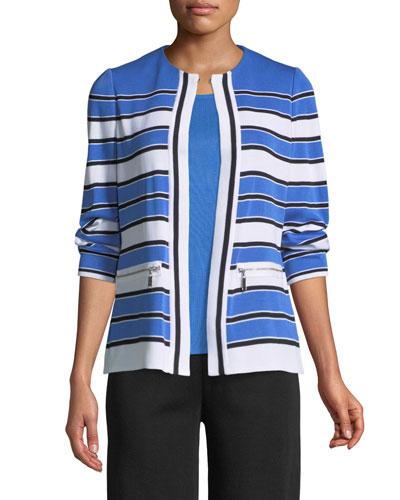 Zip-Pocket Striped Jacket