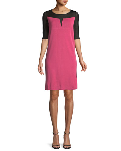 Subtly Sheer-Yoke A-line Dress