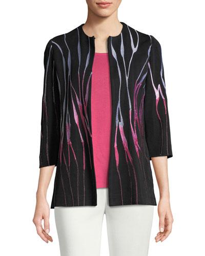 Embroidered 3/4-Sleeve Jacket