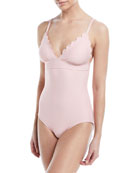 scalloped v-neck one-piece swimsuit