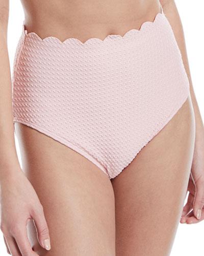 high-waist scallop textured swim bottoms