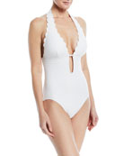 halter plunging textured one-piece swimsuit
