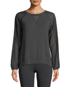 Vision Mesh Long-Sleeve Pullover Top