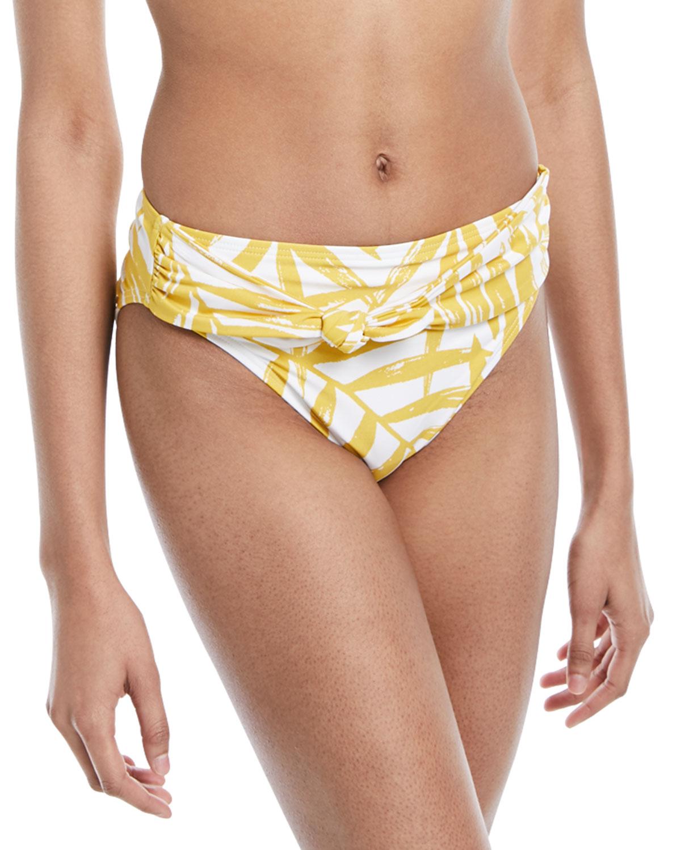 Tie-Front Palm-Leaf Print Swim Bottoms