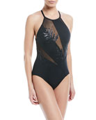 High-Neck Paneled Mesh Sequin-Leaves One-Piece Swimsuit