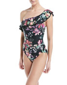 One-Shoulder Floral-Print One-Piece Swimsuit