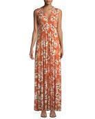 Long Sleeveless Zahara-Print Dress