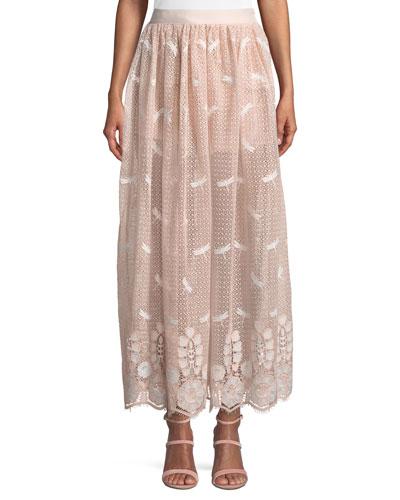 Paris Dragonfly Scallop Lace A-Line Skirt