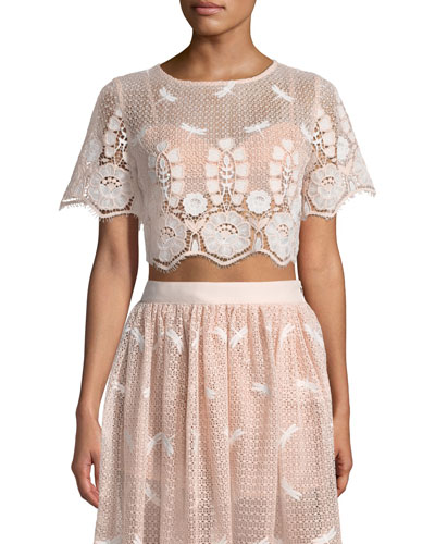 Lula Round-Neck Scallop Lace Cropped Top