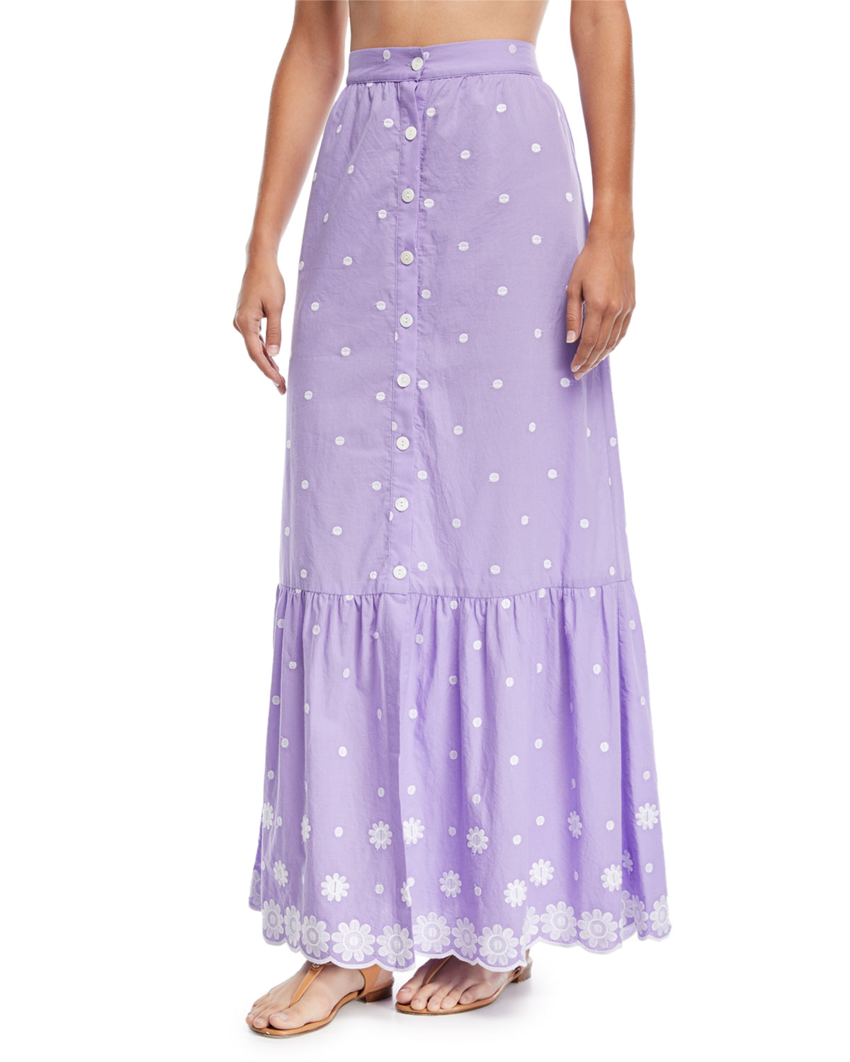 Aiden Button-Front A-Line Daisy Cotton Embroidered Maxi Skirt