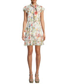 Leslie Tie-Neck Floral-Print Silk Ruffle Dress