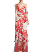 Olympia Asymmetric Silk Ruffle Maxi Dress
