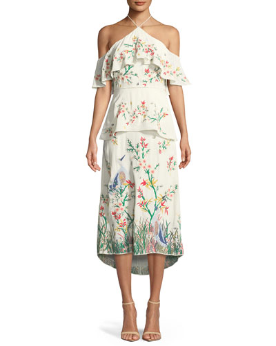 Golda Off-the-shoulder Embroidered Georgette Halterneck Midi Dress - Cream Alice & Olivia LQk4V