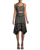 Tamika Cutout-Waist Lace Eyelet Handkerchief Dress