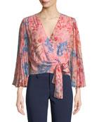 Bray Pleated-Sleeve Floral-Print Silk Wrap Blouse