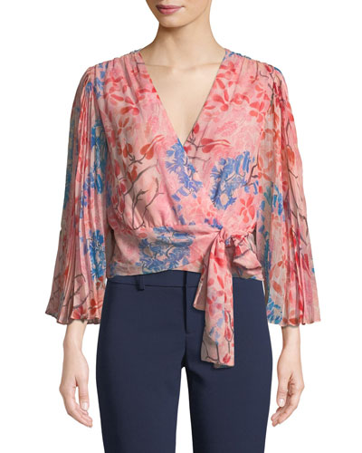 Bray Pleated-Sleeve Floral-Print Silk Wrap Blouse