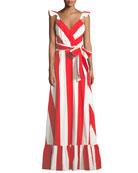 Fernanda Flutter-Straps Wide-Stripe Cotton Maxi Dress