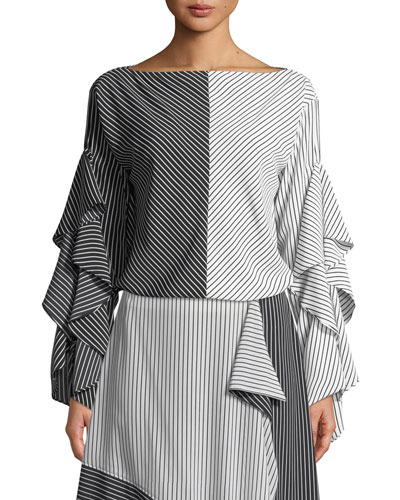 Colorblock Stripe Ruffled-Sleeves Top