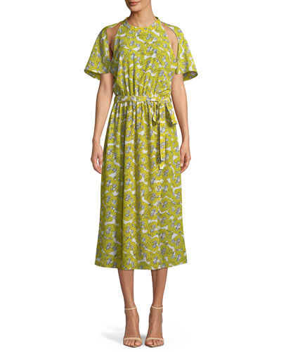 ROBERT RODRIGUEZ Dania Floral-Print Cutout Belted Midi Dress in Yellow Floral
