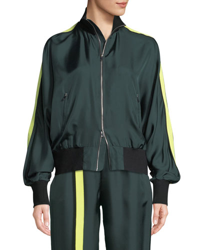 Silk Zip-Front Track Jacket