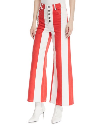 Jonelle High-Waist Striped Crop Jeans