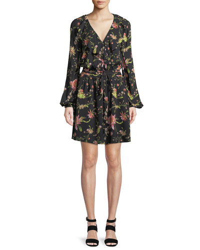 Drea Floral-Print Long-Sleeve Mini Dress