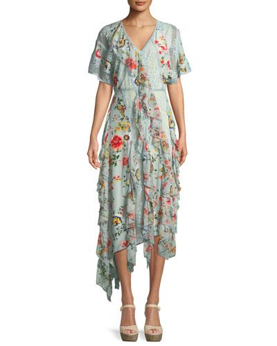 Kadence Short-Sleeve Floral-Print Lace Godet Dress w/ Ruffled Frills