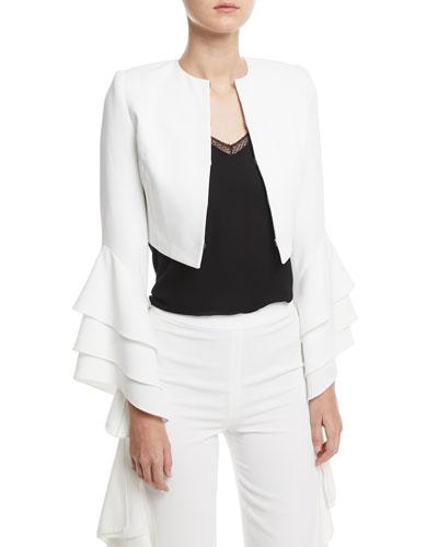Presley Open-Front Ruffle-Sleeve Short Silk Blazer