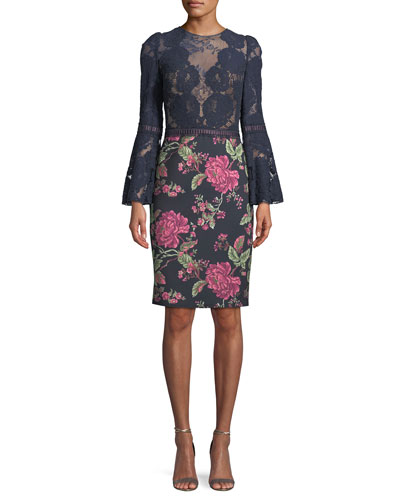 Lace Trumpet-Sleeve Cocktail Dress w/ Floral Skirt